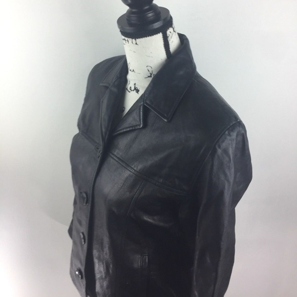 c3d35029f SIENA STUDIO Button Down Black Leather Jacket